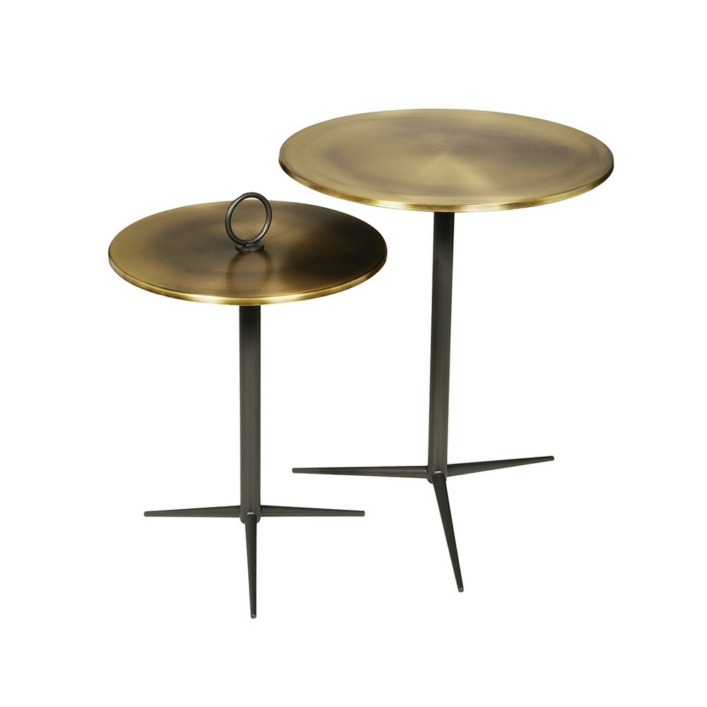 Round side tables in metal