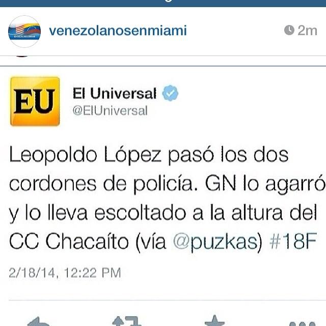 Venezuela y Leopoldo nos necesita ahora!!!! AHORA!!! No mañana AHORA!!! #lasalida #llegolahora #laluchasigue #venezuelacomoteextrano #venezuelatequierolibre #comomeduelesvenezuela #18f #sosvenezuela #soyvenezolano #prayforvenezuela