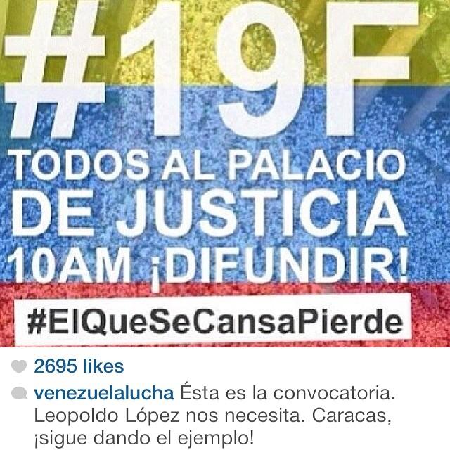 Leopoldo y Venezuela nos necesita… En Caracas y en el mundo entero!!! #lasalida #llegolahora #laluchasigue #venezuelacomoteextrano #venezuelatequierolibre #comomeduelesvenezuela #sosvenezuela #soyvenezolano #prayforvenezuela #elquesecansapierde