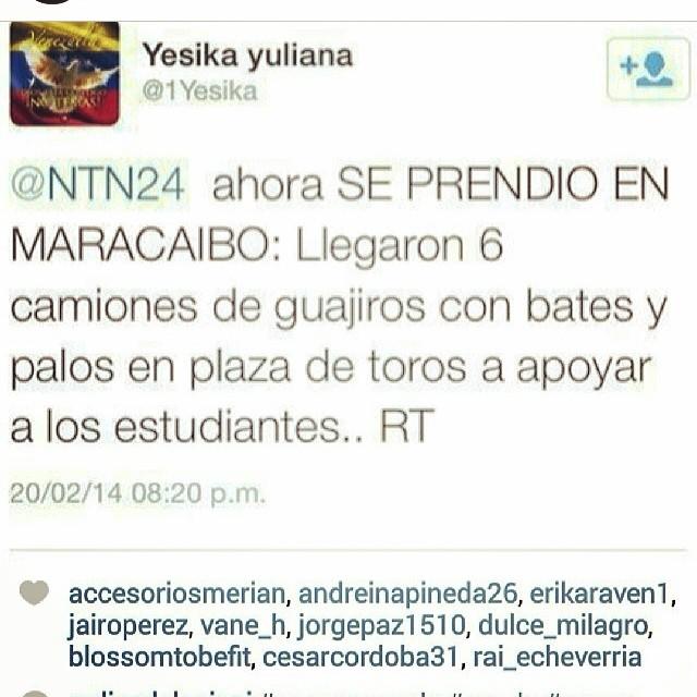 Yo sabiaaaaaaaaa!!!! Arriba los estudiantes!!!! No se rindan!!! #elquesecansapierde #lasalida #llegolahora #laluchasigue #venezuelacomoteextrano #venezuelatequierolibre #comomeduelesvenezuela #soyvenezolano #sosvenezuela #prayforvenezuela