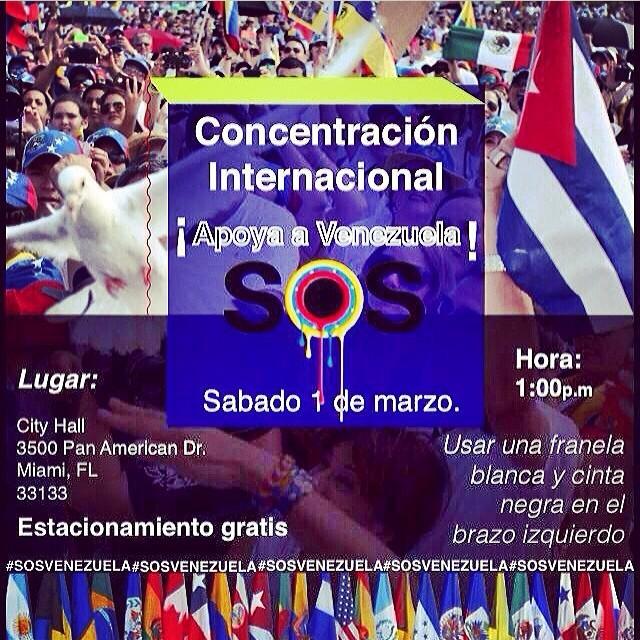 Venezolanos en Miami!!! La concentracion es este Sab, 1 de Marzo a la 1:00pm!!! Nos vemos alla!!! @ca_ea_mom @henderg @kathrinegonz @vmendible @alegosss @neliciosamendez @cinthya_jose @ernestomolins #lasalida #llegolahora #laluchasigue #venezuelacomoteextrano #venezuelatequierolibre #comomeduelesvenezuela #soyvenezolano #soytuvozvenezuela #somostuvozvenezuela #sosvenezuela #prayforvenezuela #fuerzavenezuela #resistencia #resistenciavenezuela #elquesecansapierde #1mar #venezuelasomostodos @venezolanosenmiami @venezuelalucha @venezuelaxti @sosvenezuelainfo