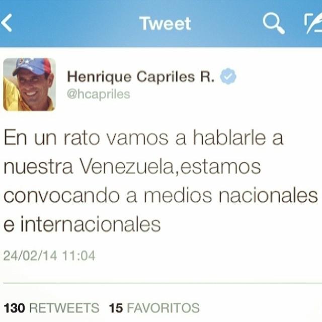 Todo el mundo atento!!! Capriles.tv lo pueden ver tambien!!! #lasalida #llegolahora #laluchasigue #venezuelacomoteextrano #venezuelatequierolibre #comomeduelesvenezuela #soyvenezolano #soytuvozvenezuela #somostuvozvenezuela #sosvenezuela #prayforvenezuela #fuerzavenezuela #elquesecansapierde #24f