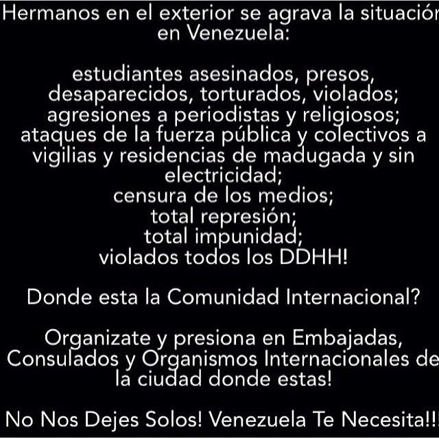 Necesitamos seguir apoyando y ayudando aun mas a nuestros hermanos en Venezuela!!! Necesitamos AYUDA!!!! EL QUE SE CANSA, PIERDE!!! Por Leopoldo, por los estudiantes, por los que han entregado su vida por Venezuela!!! NO TE RINDAS!!! #lasalida #llegolahora #laluchasigue #venezuelacomoteextrano #venezuelatequierolibre #comomeduelesvenezuela #soyvenezolano #sosvenezuela #elquesecansapierde #19f