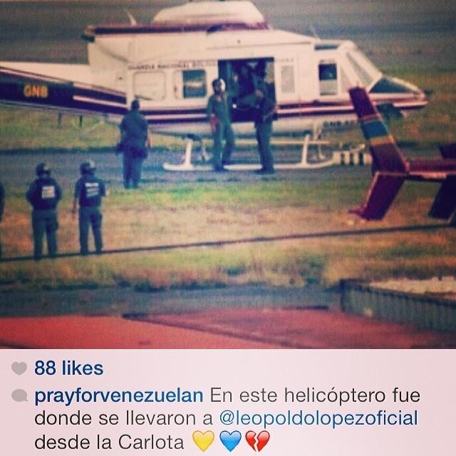 Desgraciados Cobardes!!! Dios por favor protejelo!!!! Esta en manos de quienes han ya matado a nuestro pueblo!!!! Tenemos que seguir en esta lucha… No lo podemos dejar solo!!! Venezuela y Leopoldo nos necesita ahora!!!! AHORA!!! No mañana AHORA!!! #lasalida #llegolahora #laluchasigue #venezuelacomoteextrano #venezuelatequierolibre #comomeduelesvenezuela #18f #sosvenezuela #soyvenezolano #prayforvenezuela