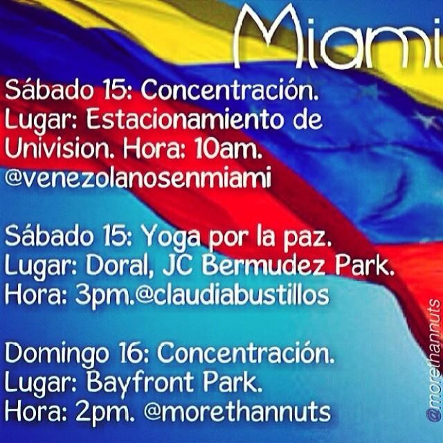Miami la cita es este fin de semana!!! VAMOS!!! Tenemos que apoyar a VENEZUELA desde donde sea… Todos están invitados… Venezolanos y solidarios con esta causa!!!!!! #14f   #13f #12f #2f #lasalida #llegolahora #laluchasigue #venezuelatequierolibre #venezurlacomoteextrano #sosvenezuela #soyvenezolano #prayforvenezuela