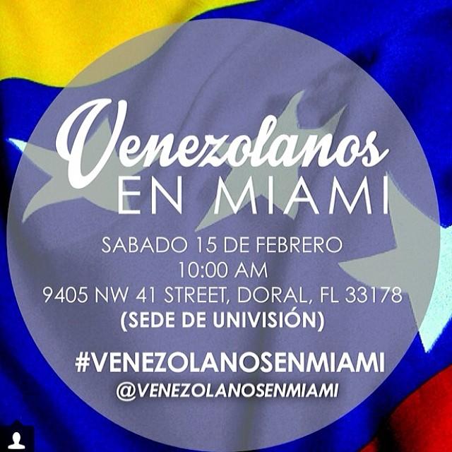 Todos debemos hacer presencia!!! Que se sienta también nuestra voz!!! Y si apoyas nuestra causa… No importa de donde seas ACOMPAÑANOS!!!! #14f #13f #12f #2f #lasalida #llegolahora #laluchasigue #venezuelatequierolibre #venezurlacomoteextrano #comomeduelesvenezuela #sosvenezuela #soyvenezolano #prayforvenezuela @venezolanosenmiami @venezuelalucha