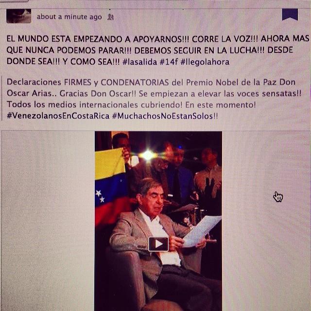 Las declaraciones FIRMES y CONDENATORIAS del Premio Nobel de la Paz: Don Oscar Arias #venezolanosEnCostaRica #MuchachosNoEstamosSolos #lasalida #llegolahora #laluchasigue #venezuelatequierolibre #venezurlacomoteextrano #comomeduelesvenezuela #sosvenezuela #prayforvenezuela #soyvenezolano