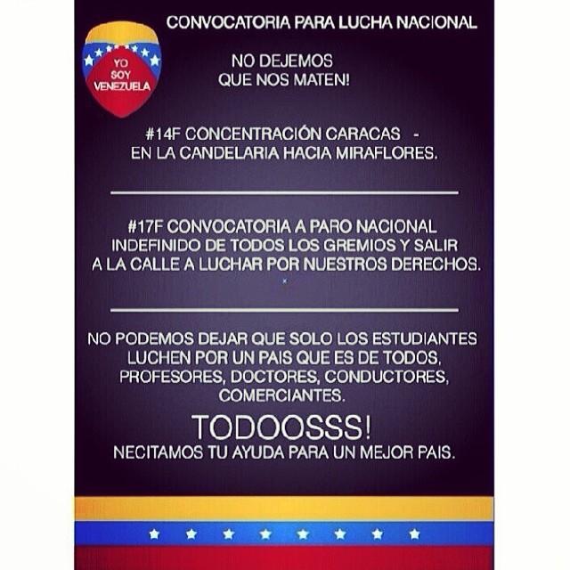 La lucha sigue!!! No se puede vencer a quien no deja de luchar!!! #14f #lasalida #llegolahora #laluchasigue #venezuelatequierolibre #venezurlacomoteextrano #comomeduelesvenezuela #sosvenezuela #soyvenezolano #prayforvenezuela