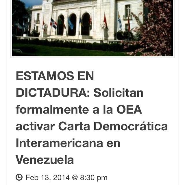 https://u4y9usi8t5zbg6zcefy4.r.worldssl.net/estamos-en-dictadura-solicitan-formalmente-la-oea-activar-carta-democratica-interamericana-en-venezuela/  este es el link para que veas la informacion completa!!!! Es ahora o nuncaaaaaa!!!! Que todos los venezolanos sepan que es AHORA #lasalida!!! @venezolanosenmiami @venezuelalucha #llegolahora #laluchasigue #venezuelatequierolibre #venezurlacomoteextrano #comomeduelesvenezuela #sosvenezuela #prayforvenezuela #soyvenezolano