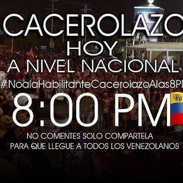 #Noalahabitantecacerolazoalas8pm BASTA YA!!! #lasalida #llegolahora #laluchasigue #venezuelatequierolibre #venezurlacomoteextrano #comomeduelesvenezuela #12f #13f #14f #13fvnzlaenlacallenicolaspalconotevas Compartelaaaa que llegue a todos los venezolanos!!! @venezolanosenmiami @venezuelalucha