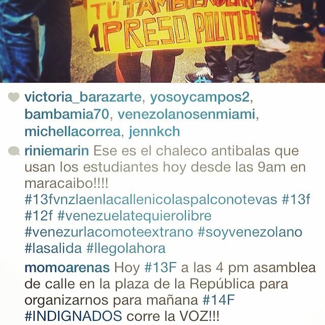 En Maracaibo!!! Hoy #13f #13fvnzlaenlacallenicolaspalconotevas A las 4pm en la Plaza de la Republica para organizarse para mañana #14f #INDIGNADOS tenemos que mantenernos comunicados he informados porque la lucha sigue hasta que se haga justicia!!! #soyvenezolano #venezuelatequierolibre #venezurlacomoteextrano #lasalida #llegolahora