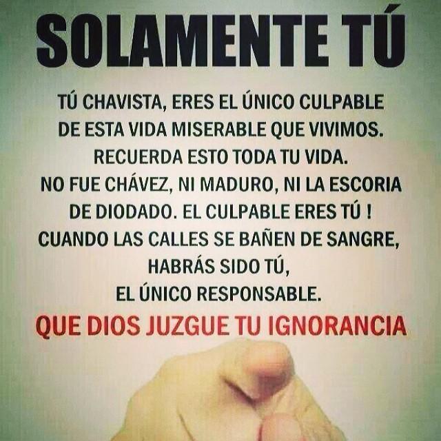 Aunque todavía tengo la esperanza de que entiendas que estas ayudando y apoyando la destrucción del país que también es TU PAIS!!! Es nuestra Venezuela!!! Reflexiona y recapacita… porque no yo solamente… Tu familia también te necesita!!!! #soyvenezolano #venezuelateextrano #venezuelatequierolibre #12f #2f #lasalida #llegolahora