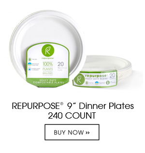 Repurpose Plates are made 100% from plants, Chlorine free, renewable and compostable. Each case contains 12 packs of 20 count units. They are heavy duty and made from reclaimed wood pulp.