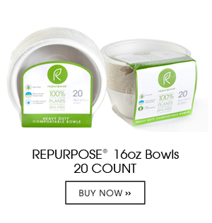 Repurpose Bowls are made 100% from plants, Chlorine free, renewable and compostable. Each unit contains 20 bowls. They are heavy duty and made from reclaimed wood pulp.