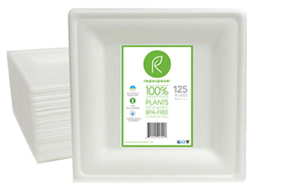 Repurpose Square Plates are made 100% from plants, renewable and compostable. Each unit contains 125 plates. They are heavy duty with an elegant look and feel.