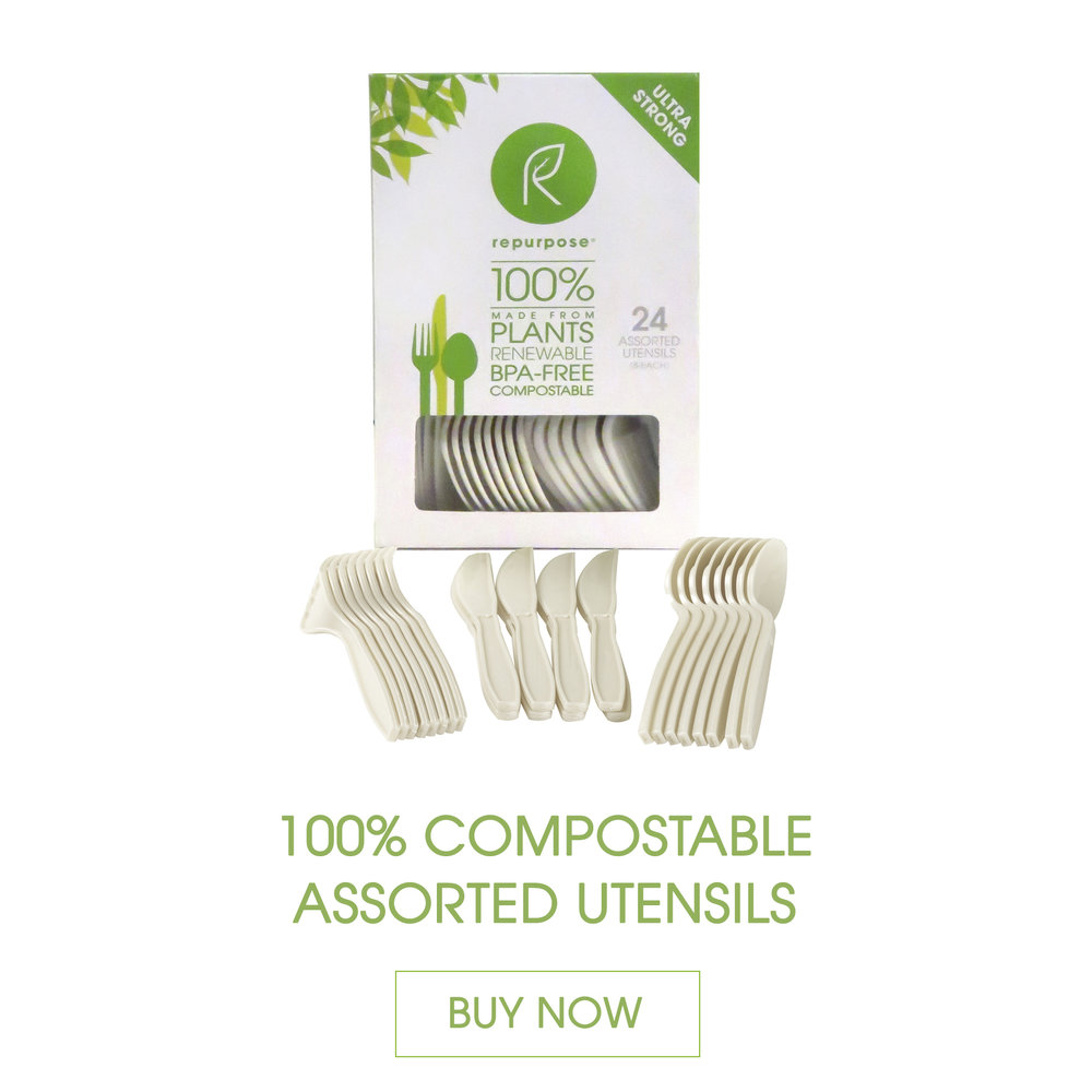 Repurpose Utensils are made 100% from plants, renewable and compostable. They are high heat resistant, heavy duty and durable