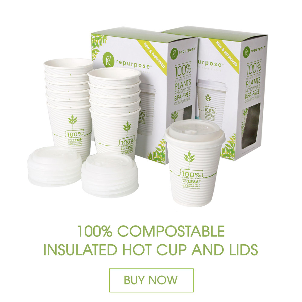 Repurpose Insulated Hot Cups and Lids are made 100% from plants, BPA free, renewable and compostable. They are insulated with a plant based resin that keeps hands cool and drinks hot – no sleeve required.