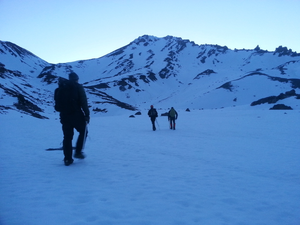 John, Steve, and Bruce leaving Hidden Valley base camp 5:15 AM