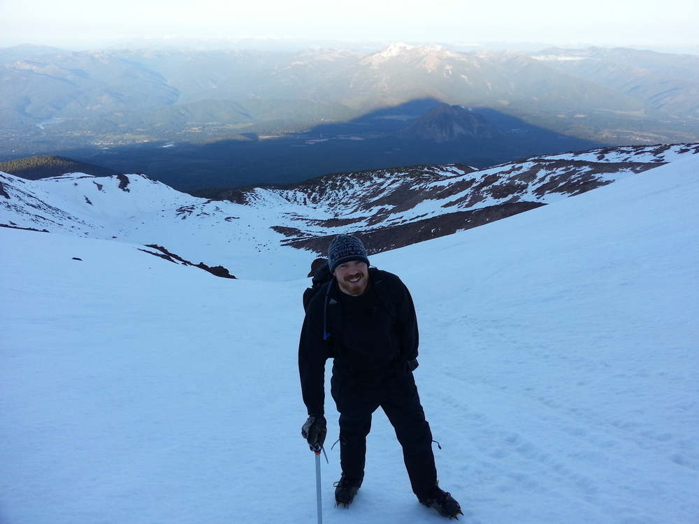 John with Mount Shasta sunrise shadow