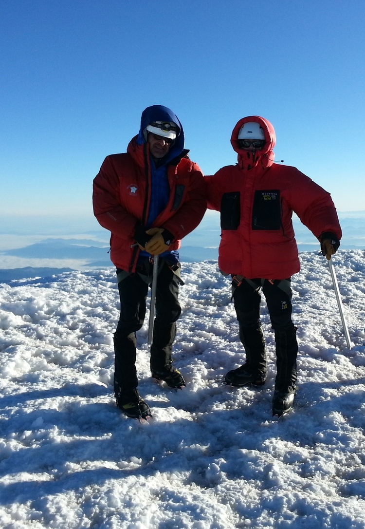Doug and Shawn on the Summit of Mount Rainier - Photo by Jason Thompson
