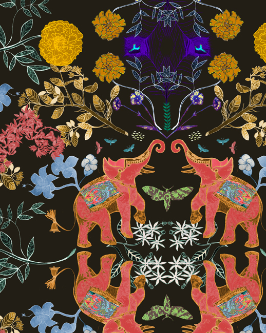 Image:   Josie Shenoy's Elephant and Marigolds design