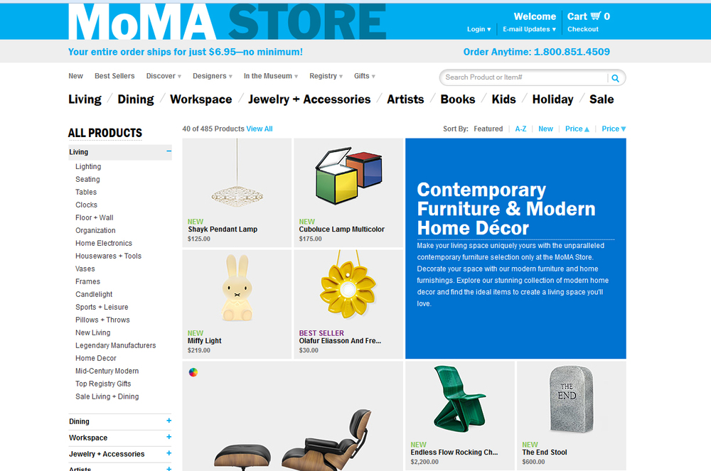Image: MoMA's furniture and home decor range. Yes, that is an Eames chair at the bottom of the page!