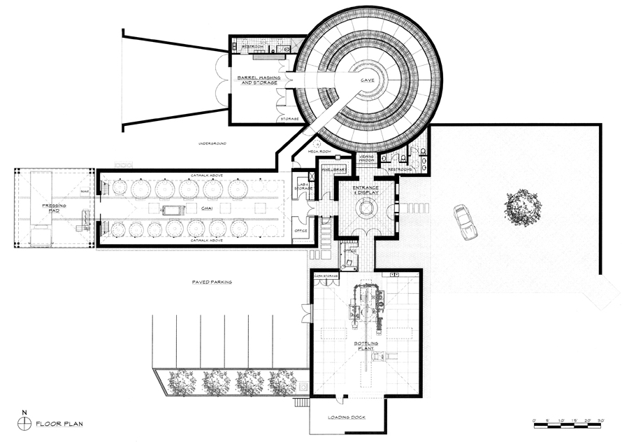 Boxwood winery jacobsen architecture llc for Winery floor plans by architects