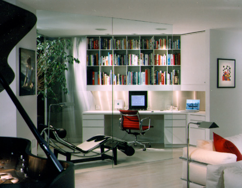 An office/library off the main hall in the Watergate.