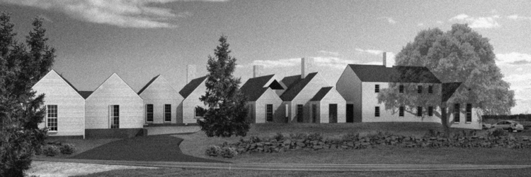 The rendering by Jacobsen Architecture shows the collection of pavilions surrounding the  newly isolated Bray House. The design intent shows the architect's motivation to under-power the other buildings that surround the old house by making them shorter and smaller in stature so as not to tower over the the older manse.