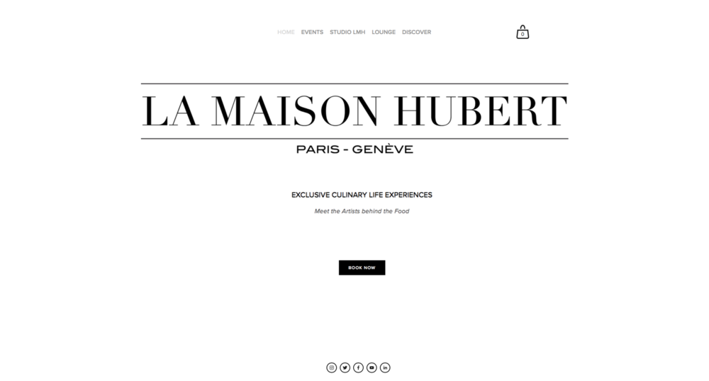 Developed for Swiss experiential luxury brand La Maison Hubert with reservation and e-commerce capabilities.