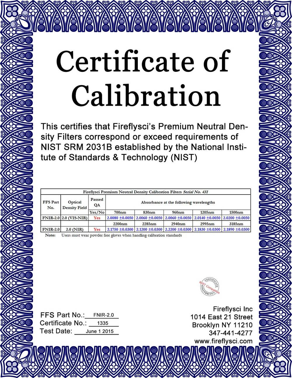 Sample FNIR-2.0 Certificate of Calibration