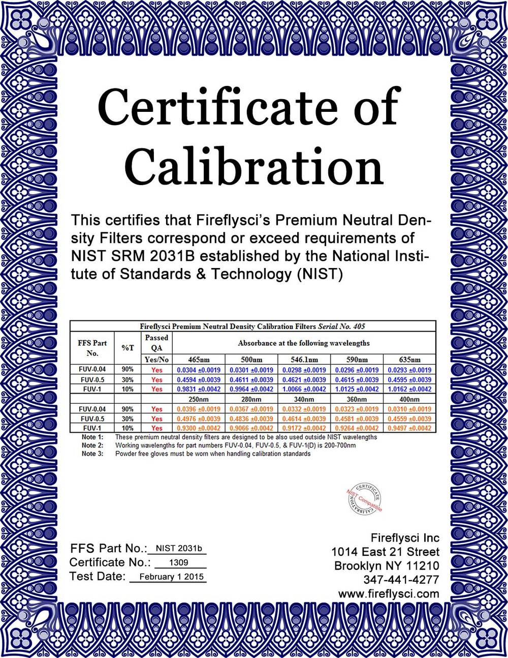 NIST 2031 Kit Sample Certificate of Calibration