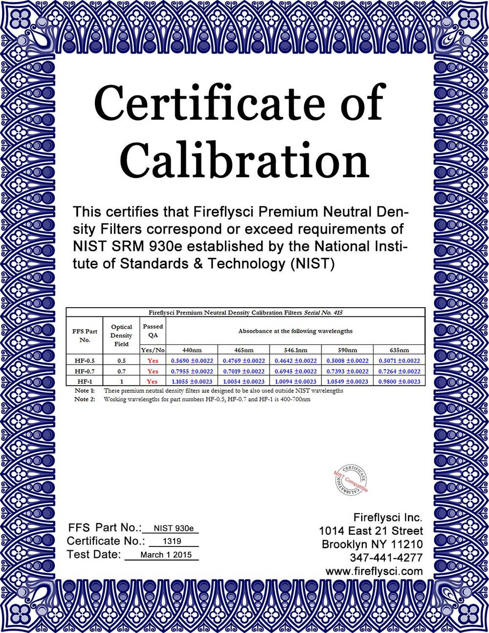 SAMPLE NIST 930E KIT CERTIFICATE OF CALIBRATION