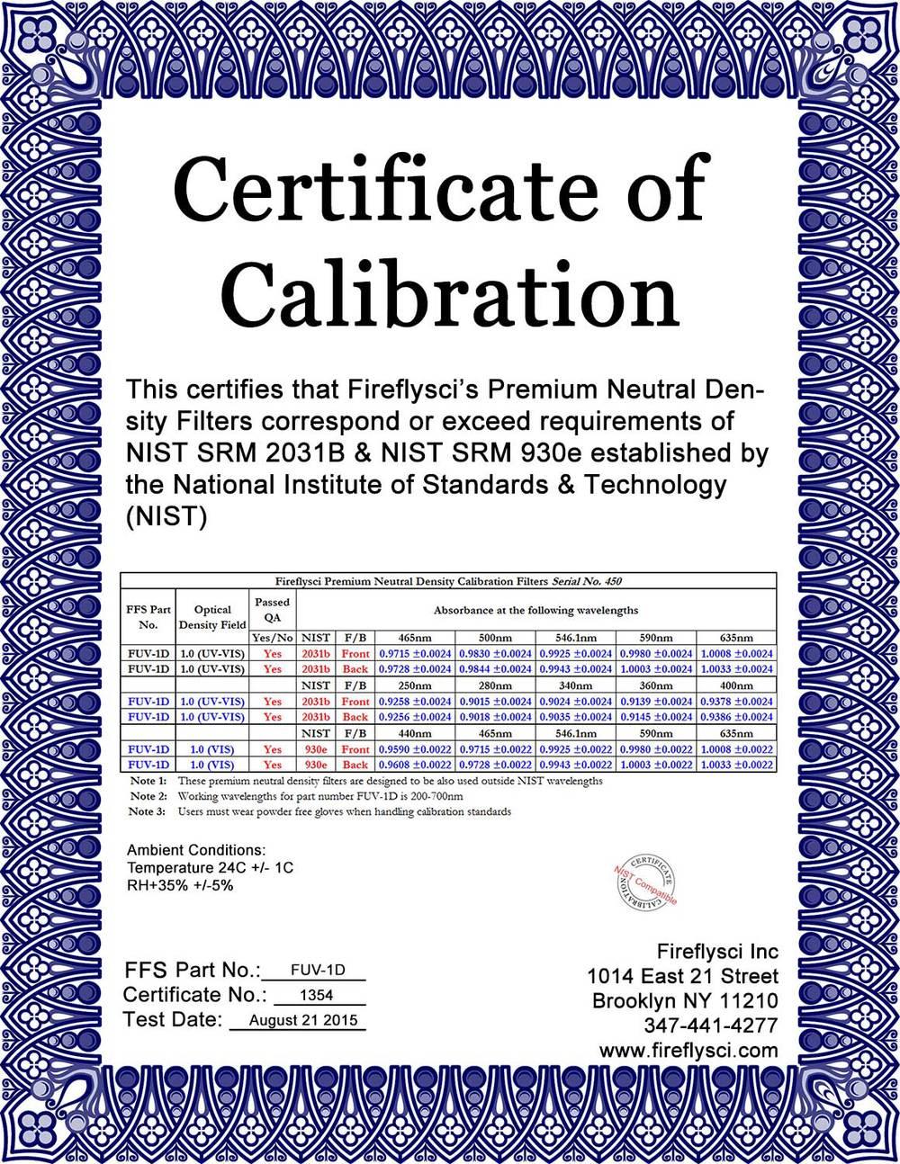 Sample FUV-1.0D Certificate of Calibration
