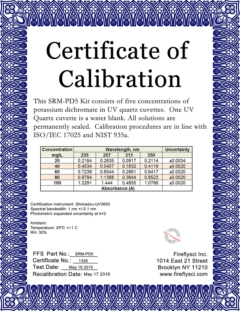 SAMPLE POTASSIUM DICHROMATE CERTIFICATE OF CALIBRATION