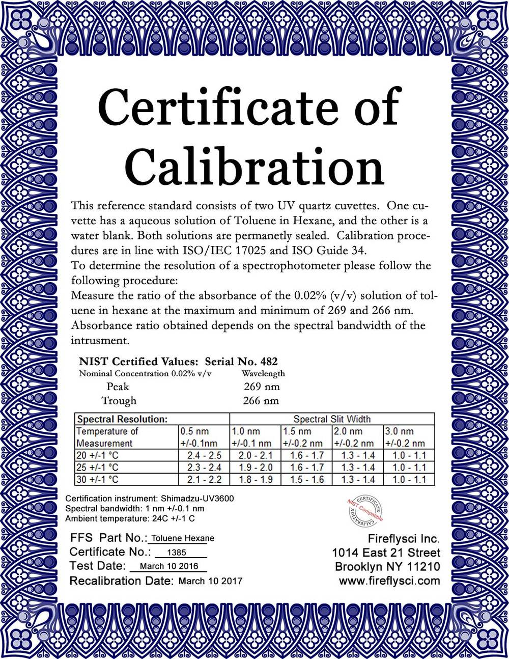 SRM-TIH Sample Certificate of Calibration