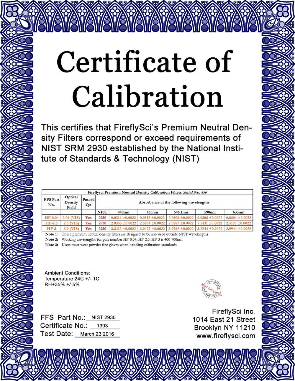 Sample NIST-2930 Certificate of Calibration
