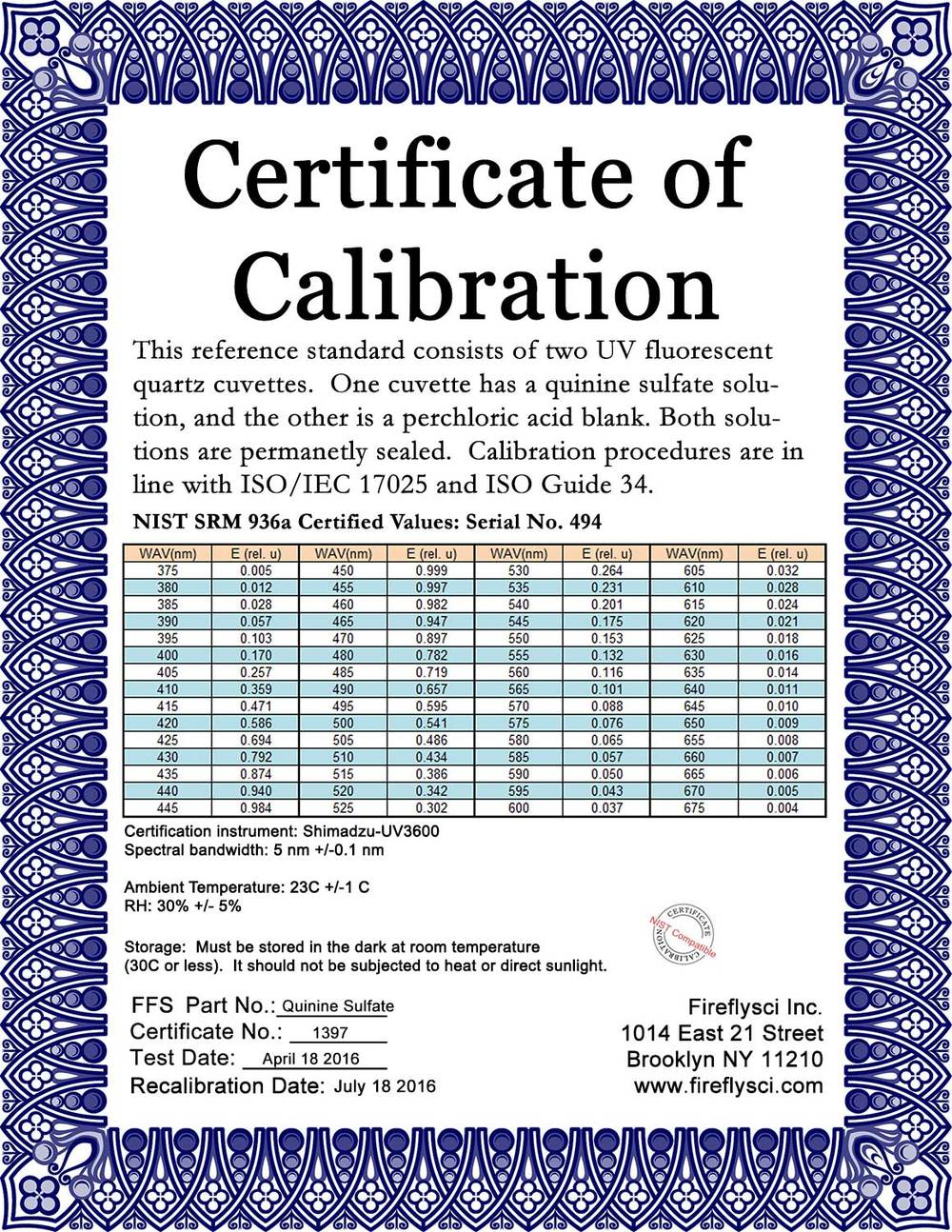 SRM-QS Sample Certificate of Calibration