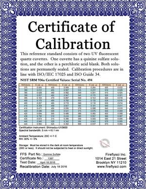 Quinine sulfate fluorescence reference standard nist 936a 375 srm qs sample certificate of calibration yadclub Choice Image
