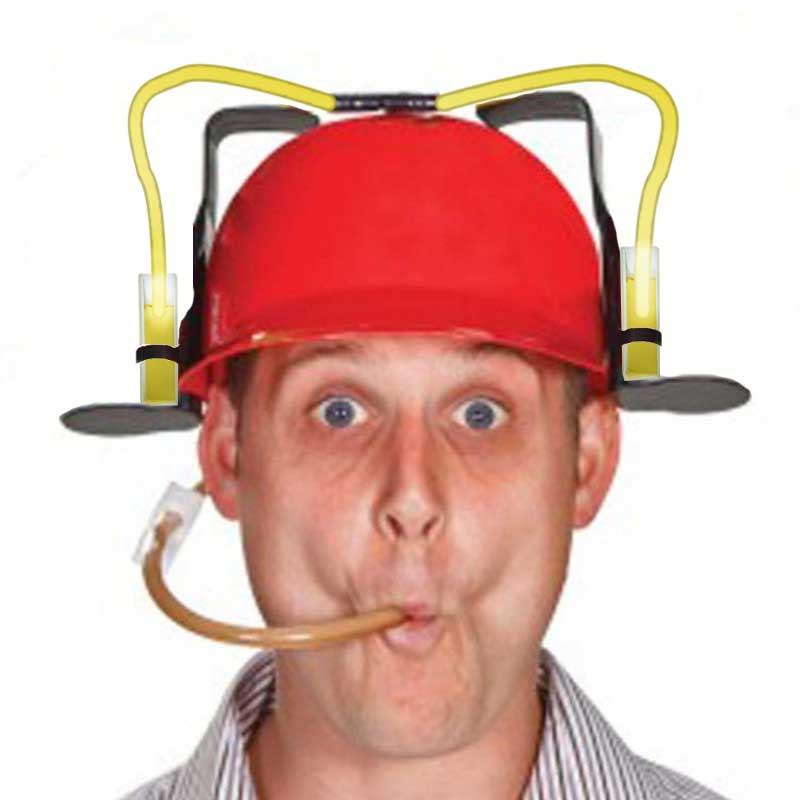 We told this dude not to get the cuvette beer helmet.