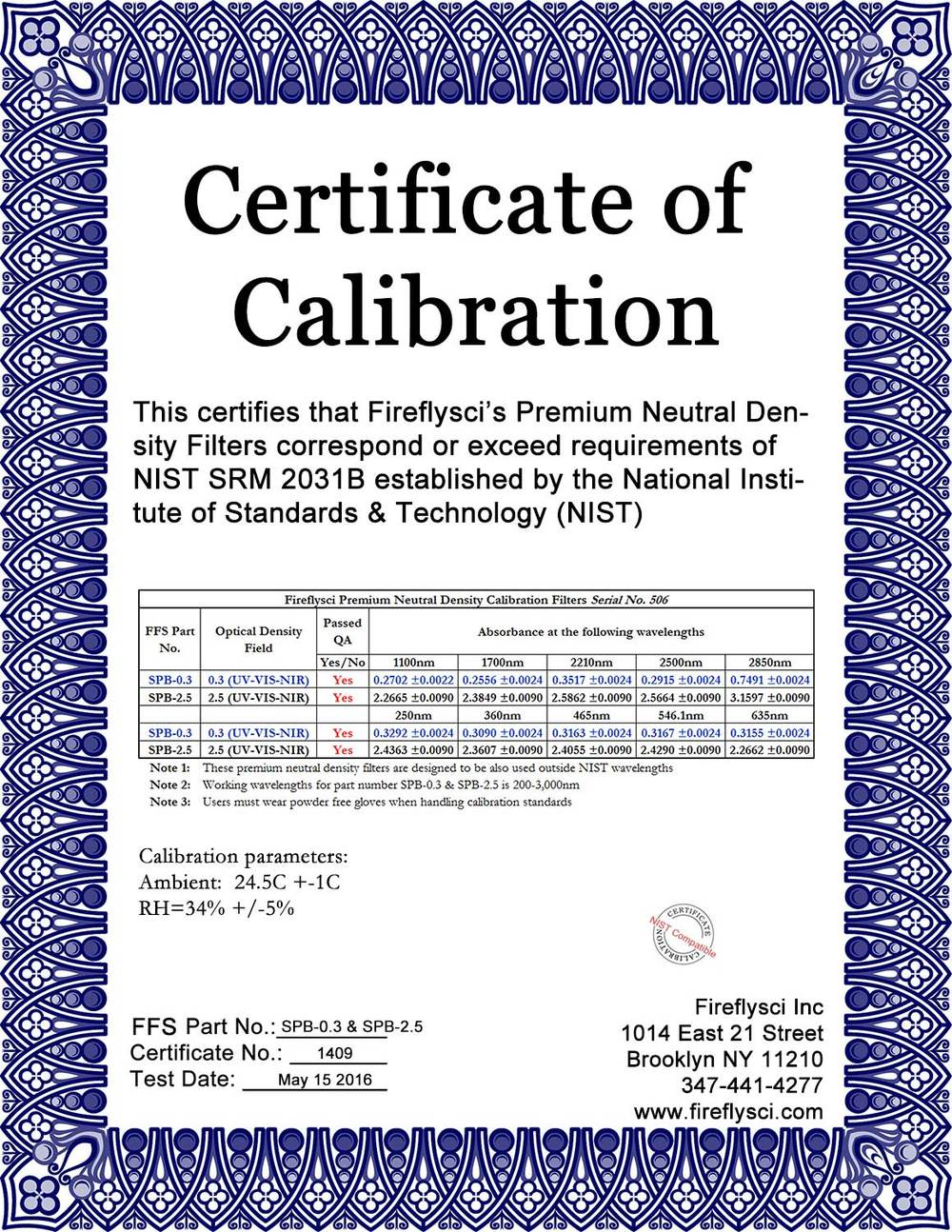 Sample Superband Certificate of Calibration