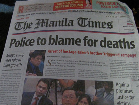 Manila Times headline: Police to blame for deaths