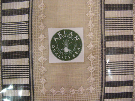 Aklan quality seal on pina fabric