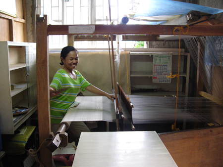 Pina fabric being woven