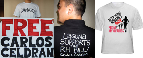 a triptych of images featuring t-shirts to support Carlos Celdran's cause