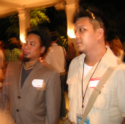 Matty and Romeo mingle at a garden party in Hawaii for the Hawaii International Film Festival 2006.