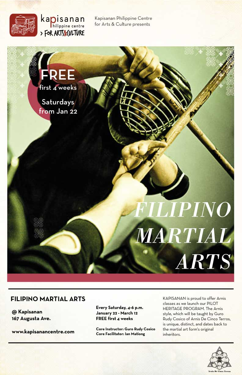 Arnis, a Filipino Martial Art form, commonly includes the use of wooden sticks.