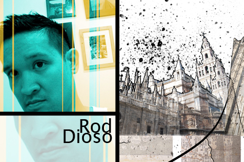 "A photo of digital artist Rod Dioso, juxtaposed with his current work entitled ""La Catedral"""