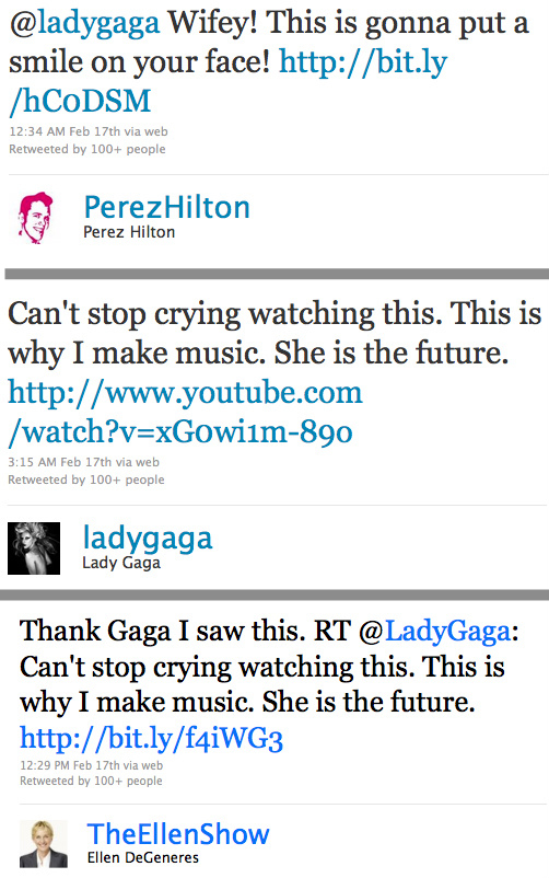 Tweets from Perez Hilton, Lady Gaga, and Ellen Degeneres, who all linked to Maria Aragon's rendition of Born This Way