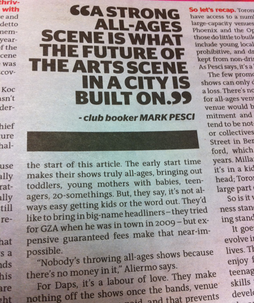 photo of a pull out quote in Now Magazine Feb 24-mar 2 issue